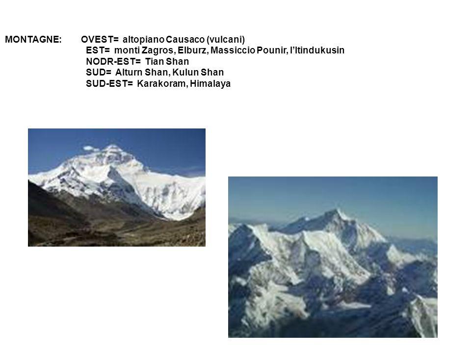 MONTAGNE: OVEST= altopiano Causaco (vulcani) EST= monti Zagros, Elburz, Massiccio Pounir, l'Itindukusin NODR-EST= Tian Shan SUD= Alturn Shan, Kulun Sh