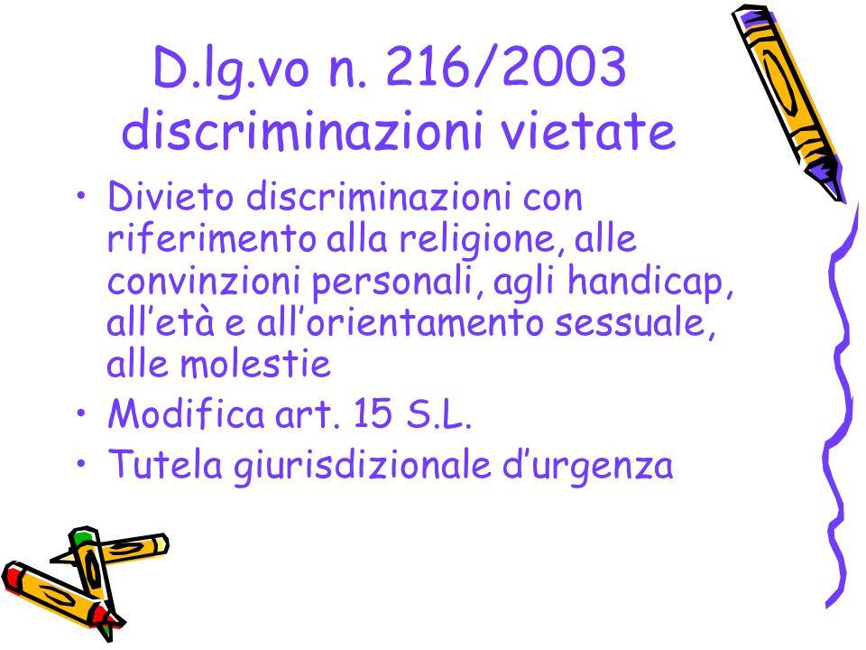DIVIETI DI DISCRIMINAZIONE NELLA PRESTAZIONE LAVORATIVA E NELLA CARRIERA Articolo 29 d.lg.vo n.