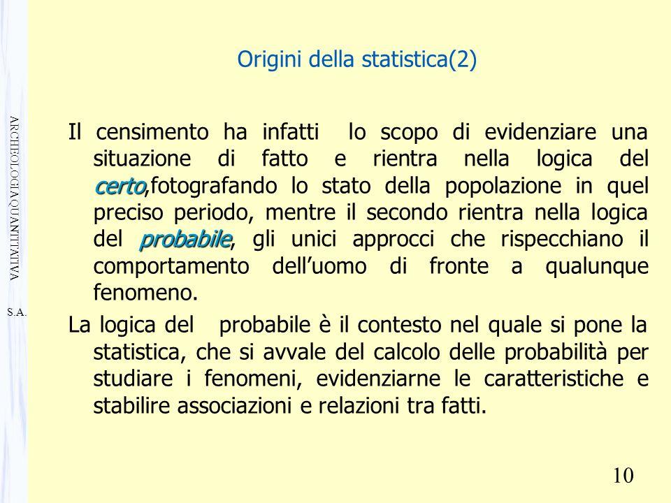 S.A. ARCHEOLOGIA QUANTITATIVA 10 Origini della statistica(2) certo probabile Il censimento ha infatti lo scopo di evidenziare una situazione di fatto