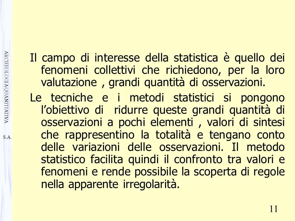 S.A. ARCHEOLOGIA QUANTITATIVA 11 Il campo di interesse della statistica è quello dei fenomeni collettivi che richiedono, per la loro valutazione, gran