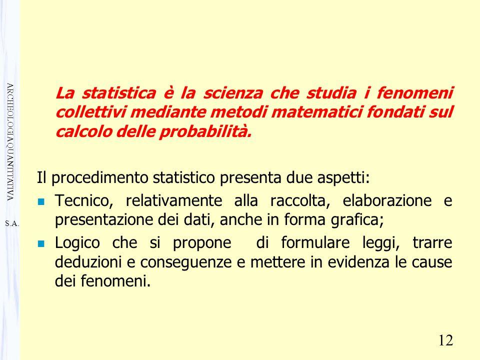 S.A. ARCHEOLOGIA QUANTITATIVA 12 La statistica è la scienza che studia i fenomeni collettivi mediante metodi matematici fondati sul calcolo delle prob