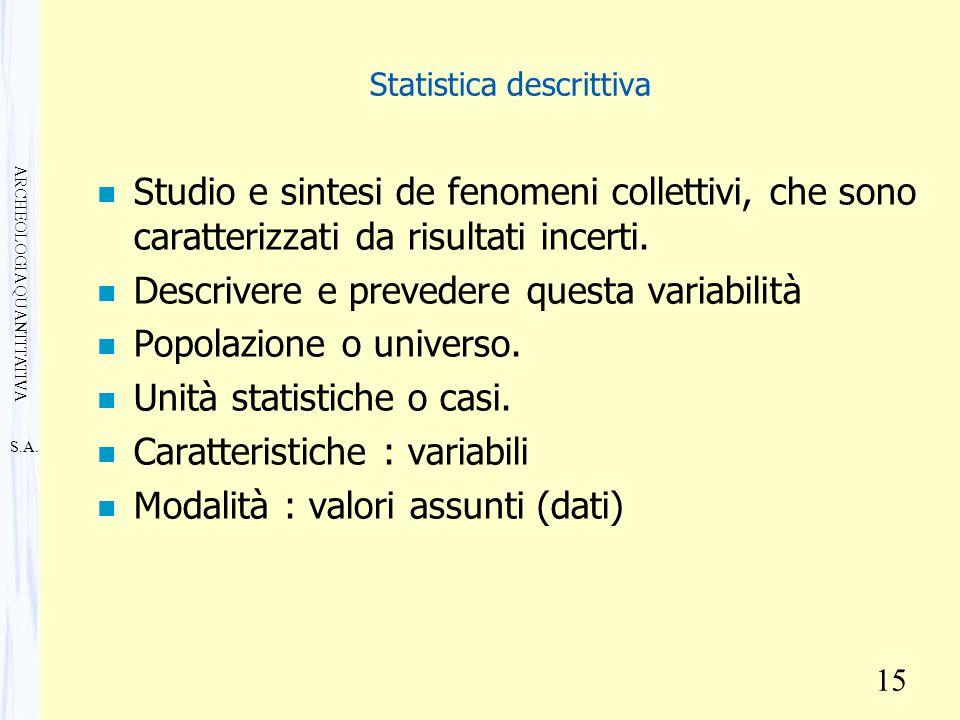 S.A. ARCHEOLOGIA QUANTITATIVA 15 Statistica descrittiva n Studio e sintesi de fenomeni collettivi, che sono caratterizzati da risultati incerti. n Des