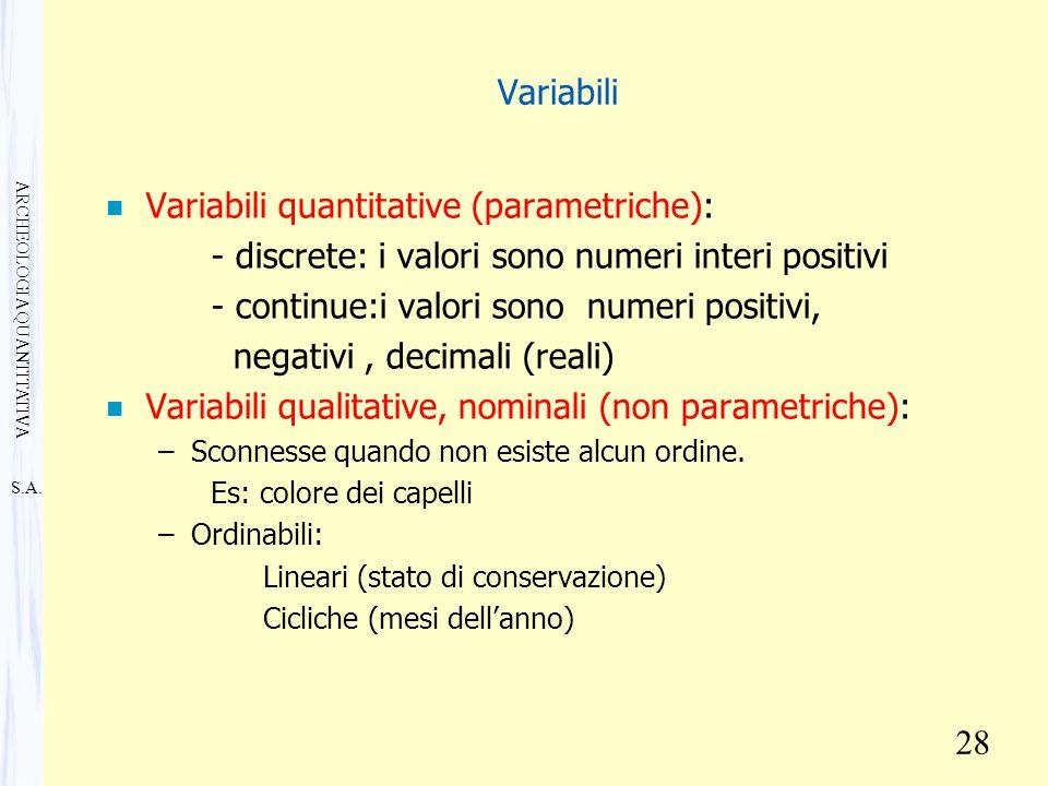 S.A. ARCHEOLOGIA QUANTITATIVA 28 Variabili n Variabili quantitative (parametriche): - discrete: i valori sono numeri interi positivi - continue:i valo