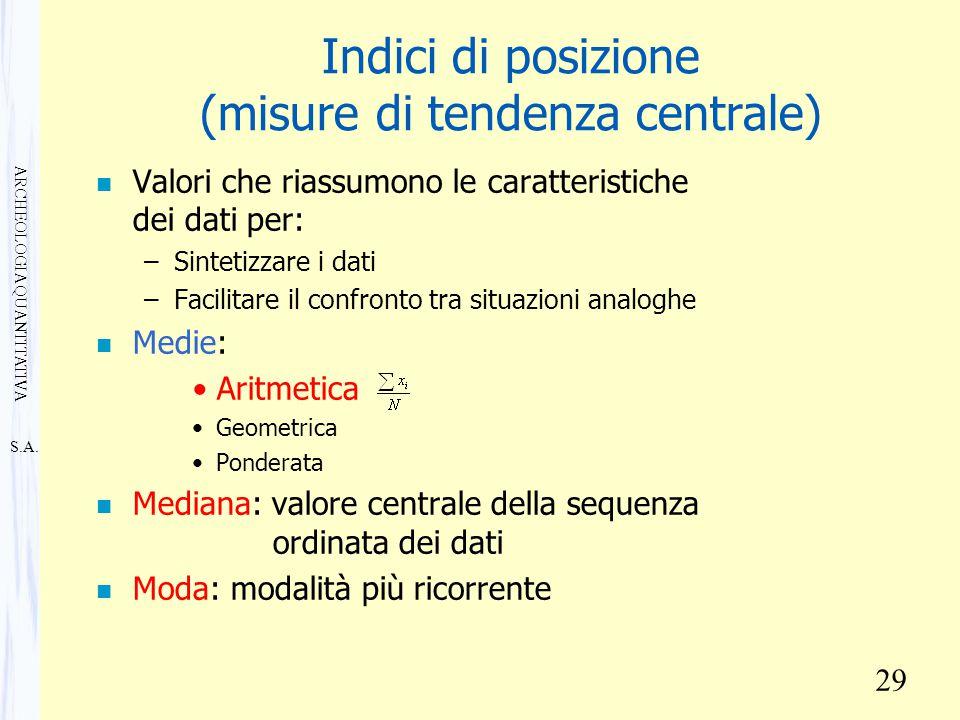 S.A. ARCHEOLOGIA QUANTITATIVA 29 Indici di posizione (misure di tendenza centrale) n Valori che riassumono le caratteristiche dei dati per: –Sintetizz