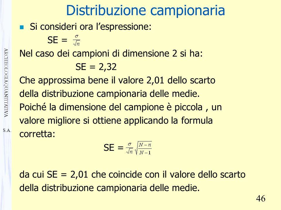 S.A. ARCHEOLOGIA QUANTITATIVA 46 Distribuzione campionaria n Si consideri ora l'espressione: SE = Nel caso dei campioni di dimensione 2 si ha: SE = 2,