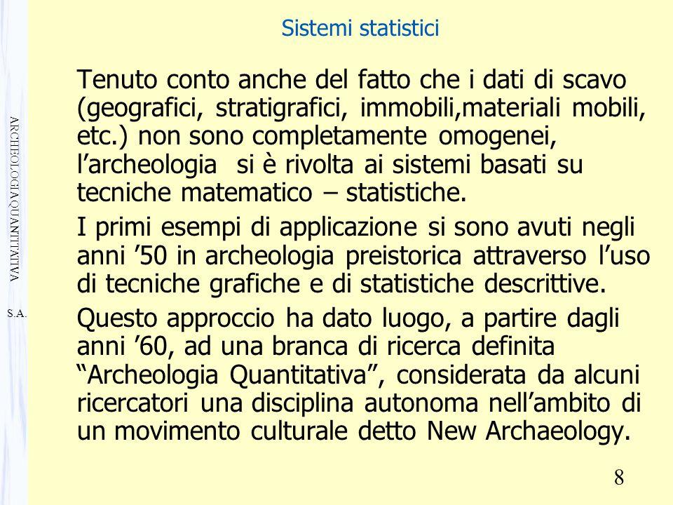 S.A. ARCHEOLOGIA QUANTITATIVA 8 Sistemi statistici Tenuto conto anche del fatto che i dati di scavo (geografici, stratigrafici, immobili,materiali mob