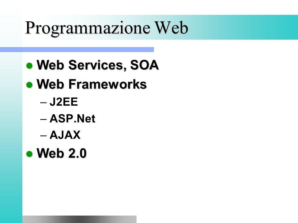 Programmazione Web Web Services, SOA Web Services, SOA Web Frameworks Web Frameworks –J2EE –ASP.Net –AJAX Web 2.0 Web 2.0