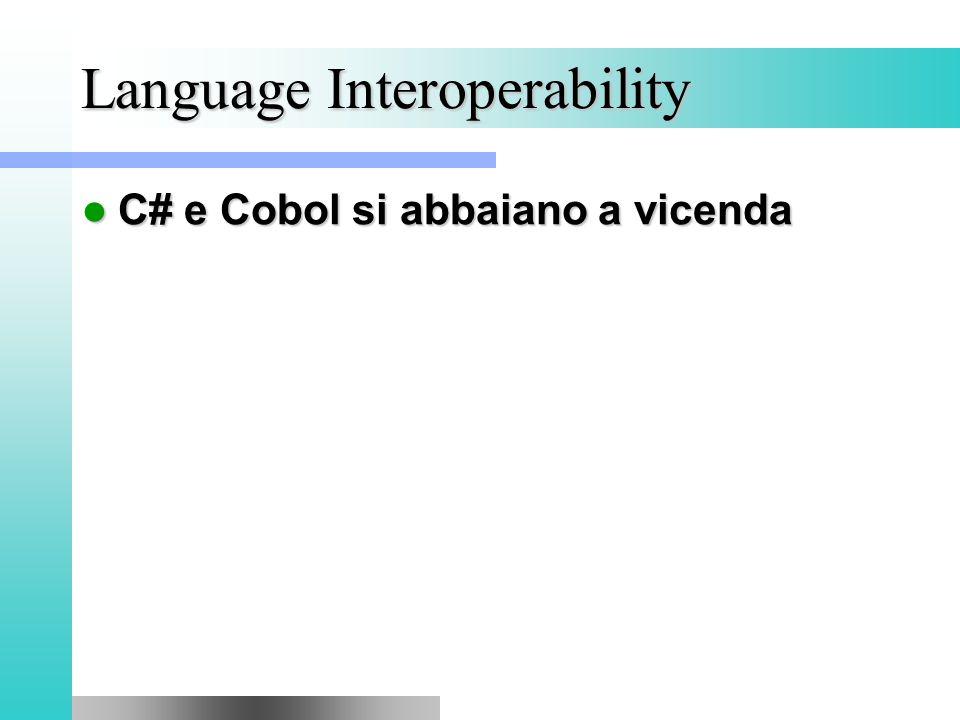 Language Interoperability C# e Cobol si abbaiano a vicenda C# e Cobol si abbaiano a vicenda