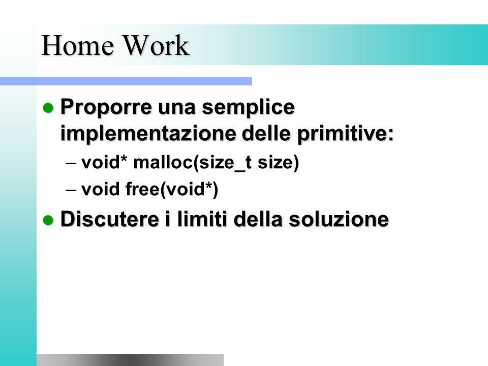 Home Work Proporre una semplice implementazione delle primitive: Proporre una semplice implementazione delle primitive: –void* malloc(size_t size) –void free(void*) Discutere i limiti della soluzione Discutere i limiti della soluzione