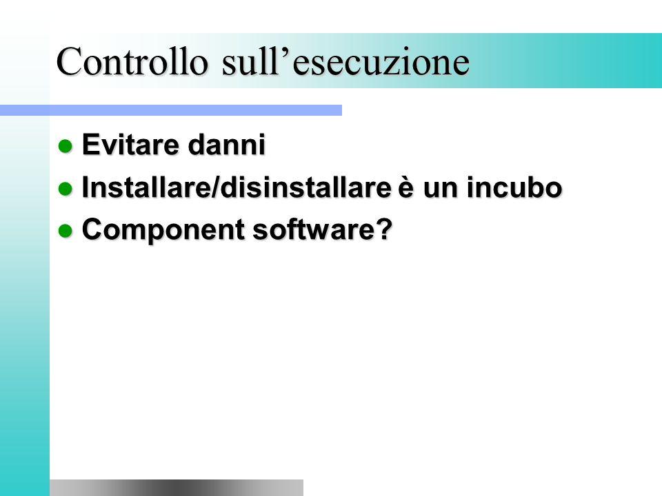 Controllo sull'esecuzione Evitare danni Evitare danni Installare/disinstallare è un incubo Installare/disinstallare è un incubo Component software.