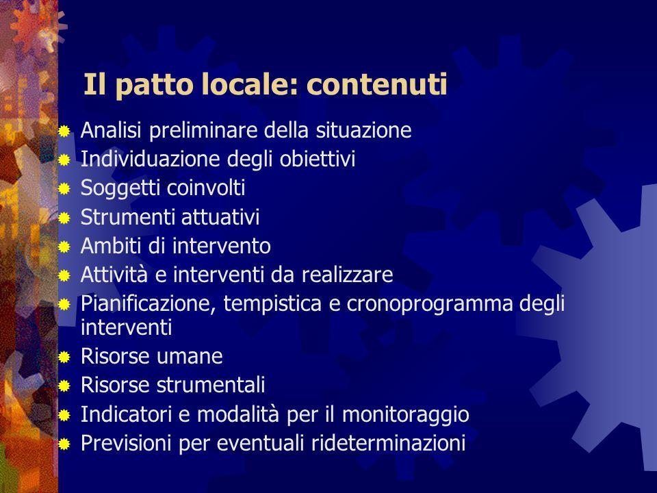 Il patto locale: contenuti  Analisi preliminare della situazione  Individuazione degli obiettivi  Soggetti coinvolti  Strumenti attuativi  Ambiti