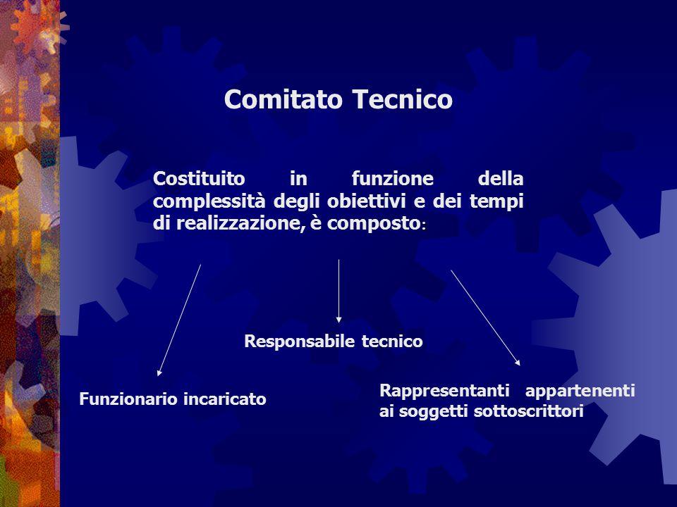 Comitato Tecnico : Costituito in funzione della complessità degli obiettivi e dei tempi di realizzazione, è composto : Funzionario incaricato Responsa