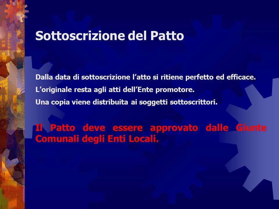 Sottoscrizione del Patto Dalla data di sottoscrizione l'atto si ritiene perfetto ed efficace. L'originale resta agli atti dell'Ente promotore. Una cop