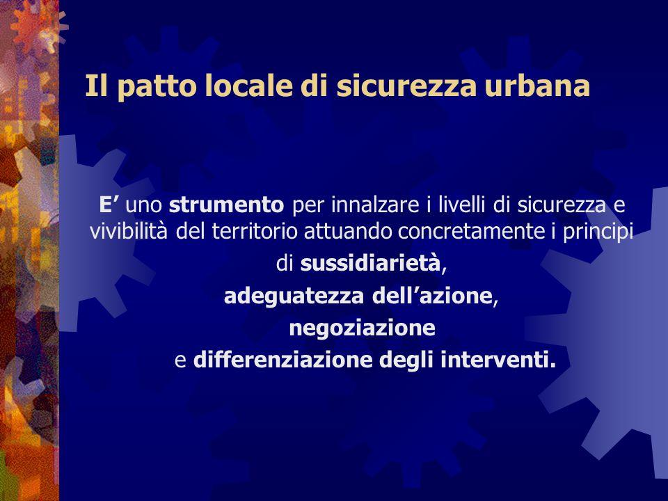 Il patto locale di sicurezza urbana E' uno strumento per innalzare i livelli di sicurezza e vivibilità del territorio attuando concretamente i princip