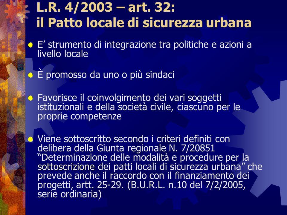 L.R. 4/2003 – art. 32: il Patto locale di sicurezza urbana  E' strumento di integrazione tra politiche e azioni a livello locale  È promosso da uno