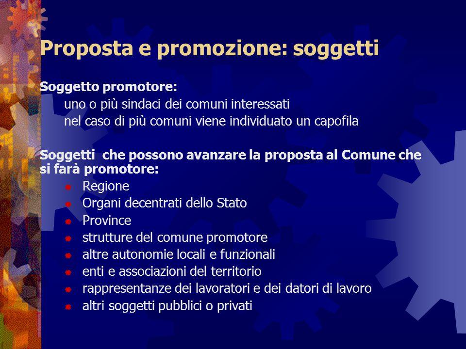 Proposta e promozione: soggetti Soggetto promotore: uno o più sindaci dei comuni interessati nel caso di più comuni viene individuato un capofila Sogg