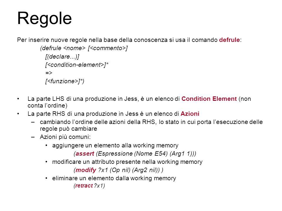 Regole Per inserire nuove regole nella base della conoscenza si usa il comando defrule: (defrule [ ] [(declare...)] [ ]* => [ ]*) La parte LHS di una produzione in Jess, è un elenco di Condition Element (non conta l'ordine) La parte RHS di una produzione in Jess è un elenco di Azioni –cambiando l'ordine delle azioni della RHS, lo stato in cui porta l'esecuzione delle regole può cambiare –Azioni più comuni: aggiungere un elemento alla working memory (assert (Espressione (Nome E54) (Arg1 1))) modificare un attributo presente nella working memory (modify ?x1 (Op nil) (Arg2 nil)) ) eliminare un elemento dalla working memory (retract ?x1)