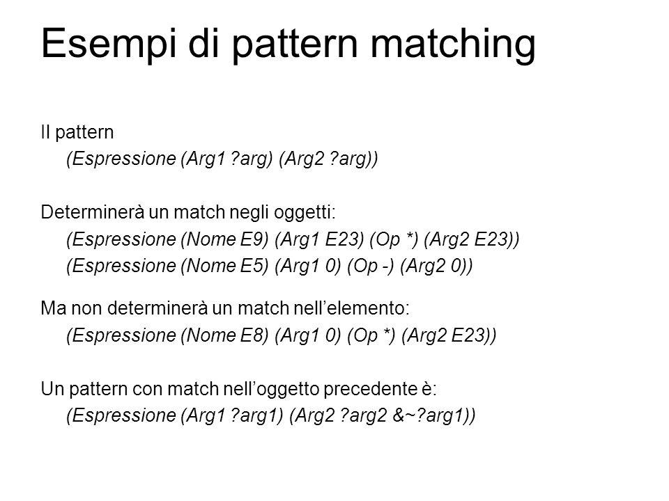Esempi di pattern matching Il pattern (Espressione (Arg1 ?arg) (Arg2 ?arg)) Determinerà un match negli oggetti: (Espressione (Nome E9) (Arg1 E23) (Op *) (Arg2 E23)) (Espressione (Nome E5) (Arg1 0) (Op -) (Arg2 0)) Ma non determinerà un match nell'elemento: (Espressione (Nome E8) (Arg1 0) (Op *) (Arg2 E23)) Un pattern con match nell'oggetto precedente è: (Espressione (Arg1 ?arg1) (Arg2 ?arg2 &~?arg1))