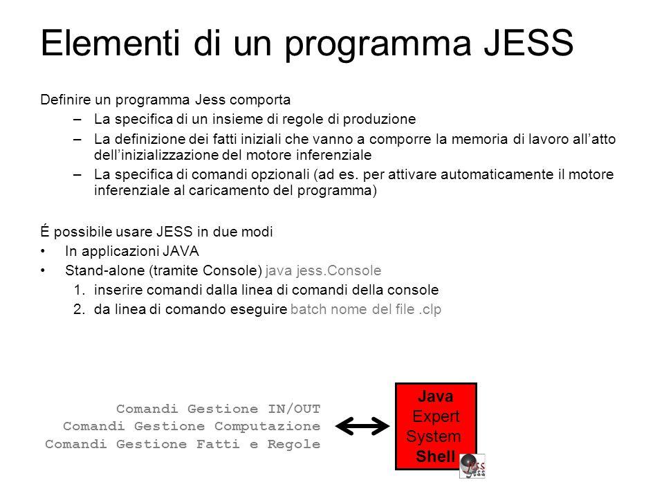 Elementi di un programma JESS Definire un programma Jess comporta –La specifica di un insieme di regole di produzione –La definizione dei fatti iniziali che vanno a comporre la memoria di lavoro all'atto dell'inizializzazione del motore inferenziale –La specifica di comandi opzionali (ad es.