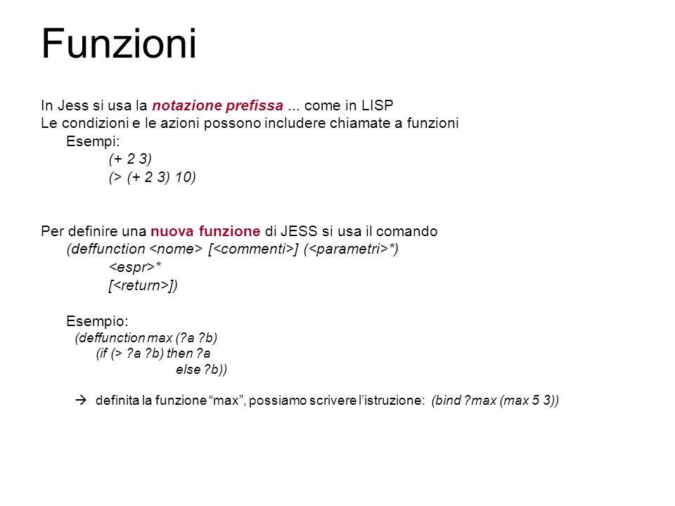 Funzioni In Jess si usa la notazione prefissa...