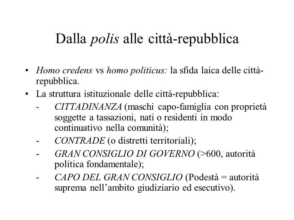 Dalla polis alle città-repubblica Homo credens vs homo politicus: la sfida laica delle città- repubblica.