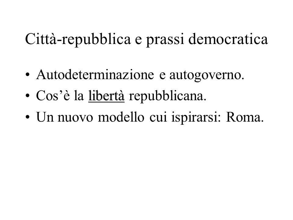 Città-repubblica e prassi democratica Autodeterminazione e autogoverno. libertàCos'è la libertà repubblicana. Un nuovo modello cui ispirarsi: Roma.