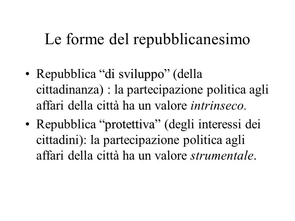Le forme del repubblicanesimo di sviluppoRepubblica di sviluppo (della cittadinanza) : la partecipazione politica agli affari della città ha un valore intrinseco.