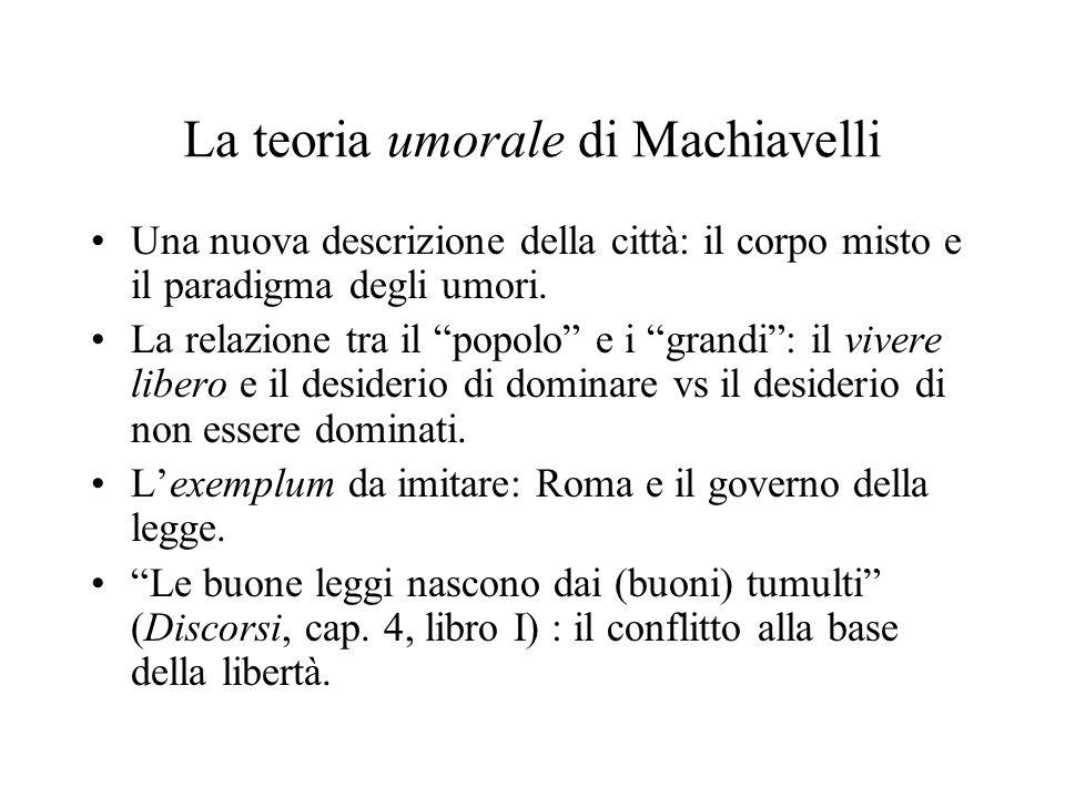 La teoria umorale di Machiavelli Una nuova descrizione della città: il corpo misto e il paradigma degli umori.