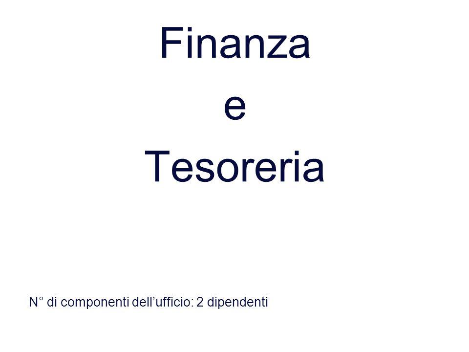 Finanza e Tesoreria N° di componenti dell'ufficio: 2 dipendenti