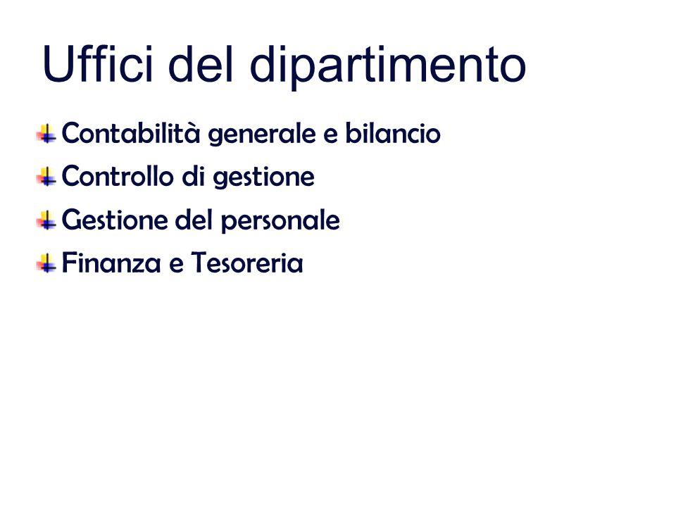 Uffici del dipartimento Contabilità generale e bilancio Controllo di gestione Gestione del personale Finanza e Tesoreria