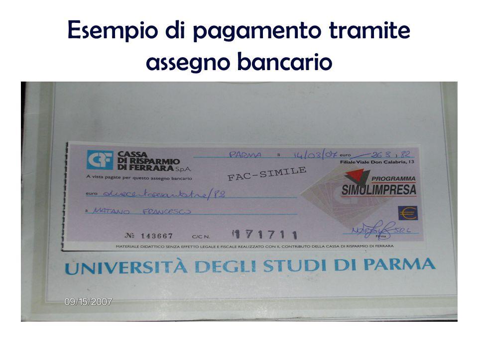 Esempio di pagamento tramite assegno bancario