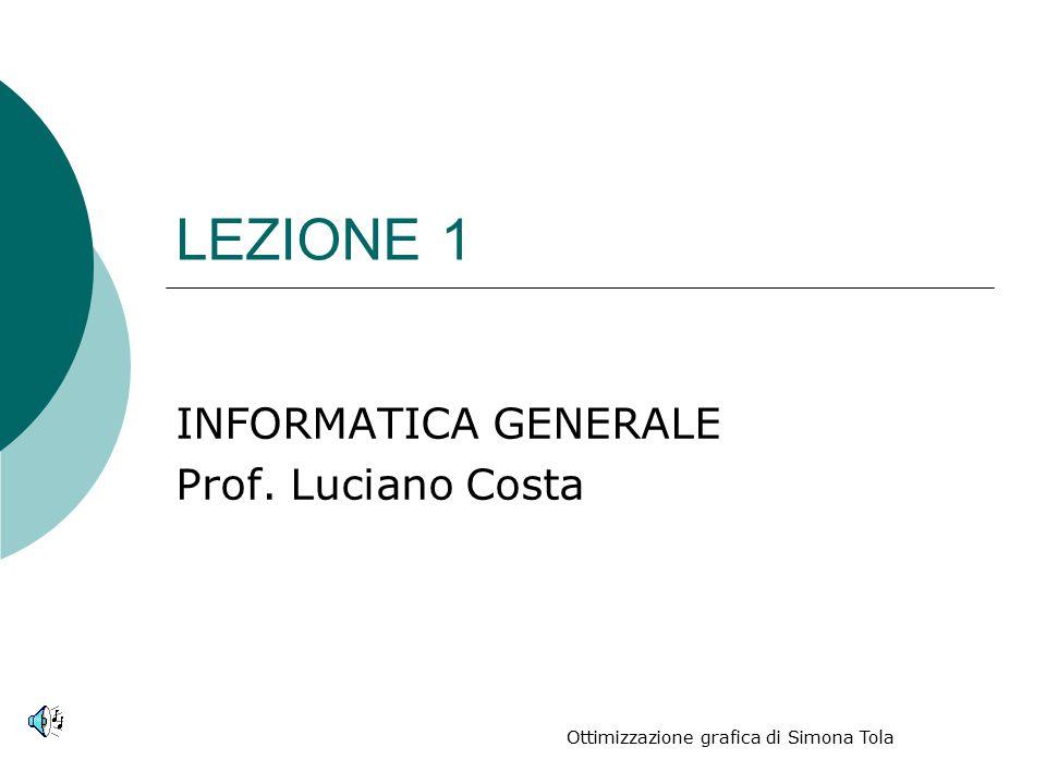 LEZIONE 1 INFORMATICA GENERALE Prof. Luciano Costa Ottimizzazione grafica di Simona Tola