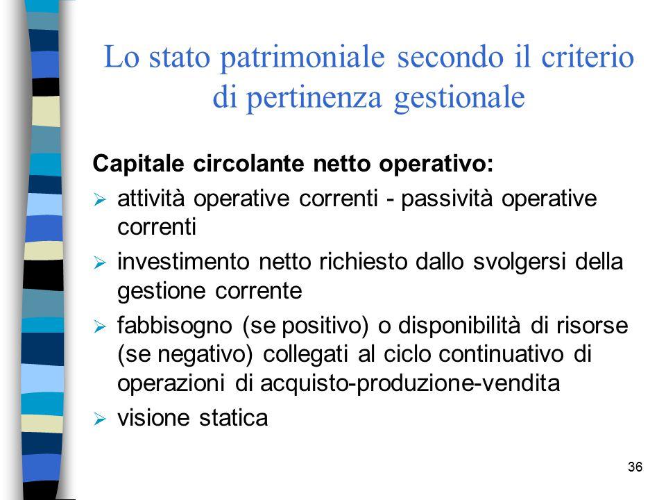 36 Lo stato patrimoniale secondo il criterio di pertinenza gestionale Capitale circolante netto operativo:  attività operative correnti - passività o