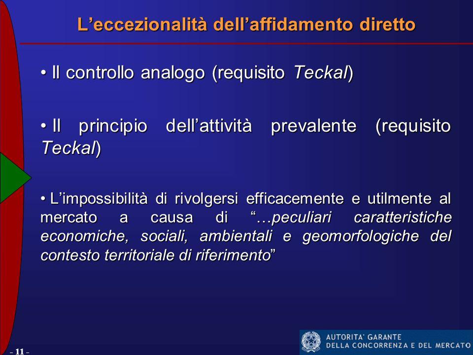 - 11 - Il controllo analogo (requisito Teckal) Il controllo analogo (requisito Teckal) Il principio dell'attività prevalente (requisito Teckal) Il principio dell'attività prevalente (requisito Teckal) L'impossibilità di rivolgersi efficacemente e utilmente al mercato a causa di …peculiari caratteristiche economiche, sociali, ambientali e geomorfologiche del contesto territoriale di riferimento L'impossibilità di rivolgersi efficacemente e utilmente al mercato a causa di …peculiari caratteristiche economiche, sociali, ambientali e geomorfologiche del contesto territoriale di riferimento L'eccezionalità dell'affidamento diretto