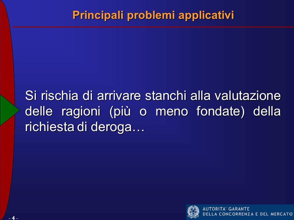 - 4 - Si rischia di arrivare stanchi alla valutazione delle ragioni (più o meno fondate) della richiesta di deroga… Principali problemi applicativi
