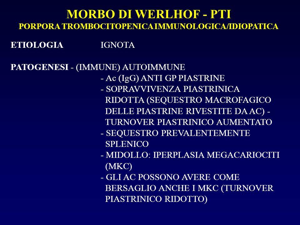 MORBO DI WERLHOF - PTI PORPORA TROMBOCITOPENICA IMMUNOLOGICA/IDIOPATICA ETIOLOGIAIGNOTA PATOGENESI- (IMMUNE) AUTOIMMUNE - Ac (IgG) ANTI GP PIASTRINE - SOPRAVVIVENZA PIASTRINICA RIDOTTA (SEQUESTRO MACROFAGICO DELLE PIASTRINE RIVESTITE DA AC) - TURNOVER PIASTRINICO AUMENTATO - SEQUESTRO PREVALENTEMENTE SPLENICO - MIDOLLO: IPERPLASIA MEGACARIOCITI (MKC) - GLI AC POSSONO AVERE COME BERSAGLIO ANCHE I MKC (TURNOVER PIASTRINICO RIDOTTO)
