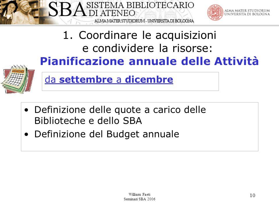 William Faeti Seminari SBA 2006 10 1.Coordinare le acquisizioni e condividere la risorse: Pianificazione annuale delle Attività Definizione delle quote a carico delle Biblioteche e dello SBA Definizione del Budget annuale da settembre a dicembre