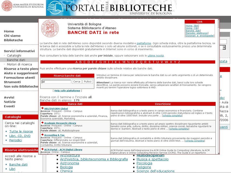 William Faeti Seminari SBA 2006 20 Posso scorrere la lista alfabetica completa di tutti i titoli