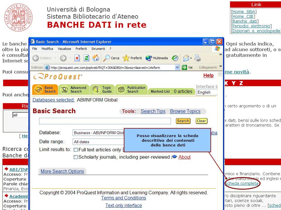 William Faeti Seminari SBA 2006 21 Posso accedere direttamente alla banca dati di interesse cliccando sul titolo Posso visualizzare la scheda descrittiva dei contenuti della banca dati