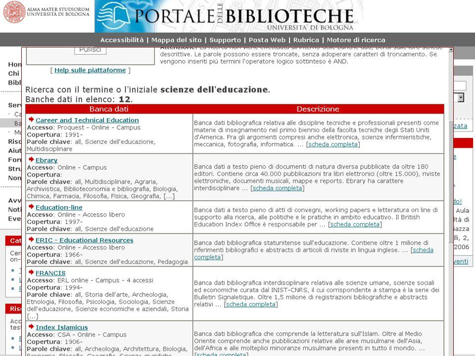 William Faeti Seminari SBA 2006 25 Posso consultare una suddivisione per discipline delle banche dati Trovo le banche dati disponibili per una determinata disciplina