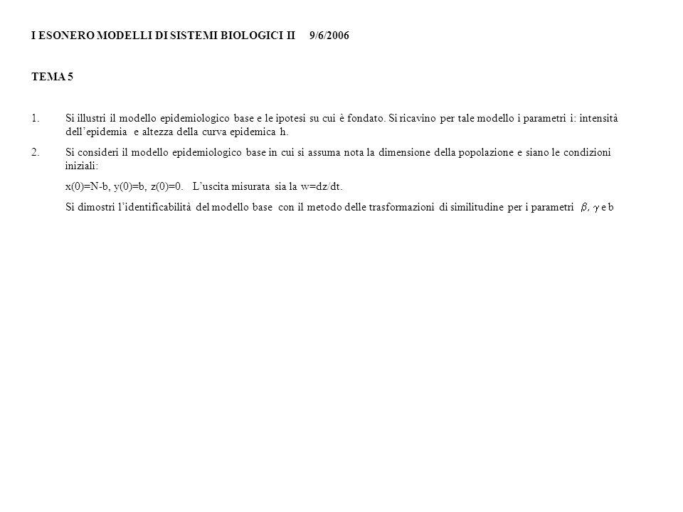 I ESONERO MODELLI DI SISTEMI BIOLOGICI II 9/6/2006 TEMA 5 1.Si illustri il modello epidemiologico base e le ipotesi su cui è fondato.
