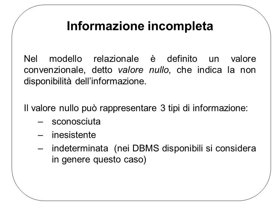 Informazione incompleta Nel modello relazionale è definito un valore convenzionale, detto valore nullo, che indica la non disponibilità dell'informazi