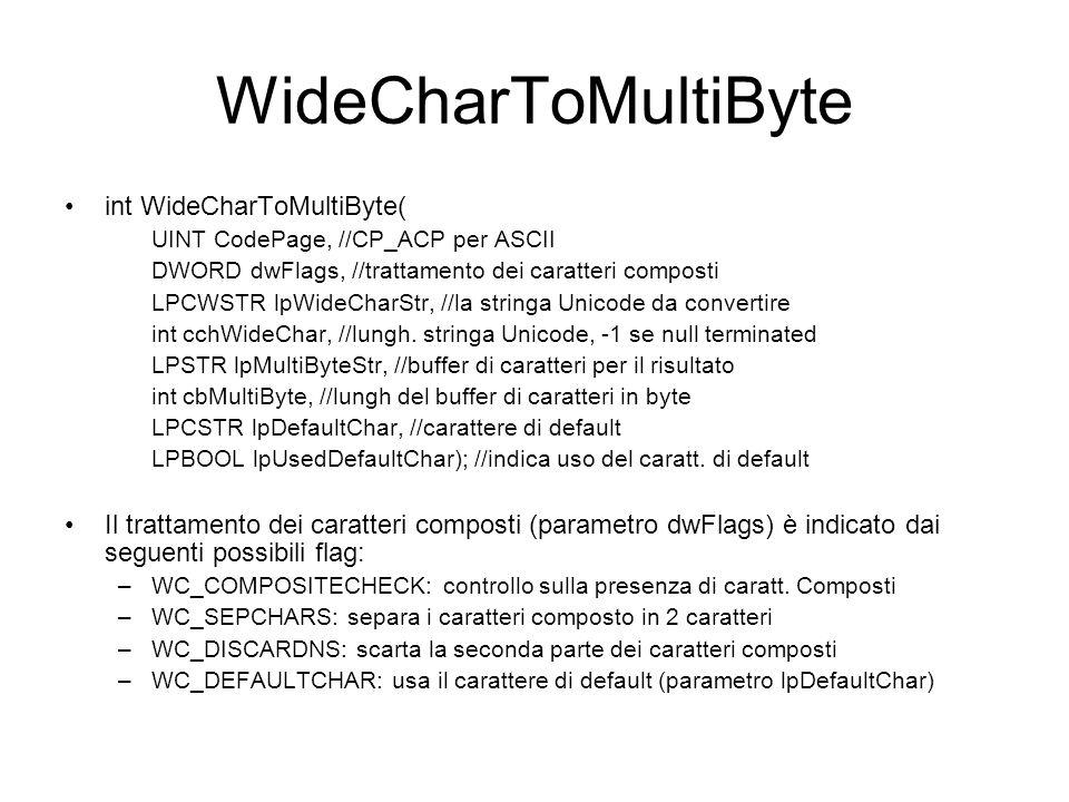 WideCharToMultiByte int WideCharToMultiByte( UINT CodePage, //CP_ACP per ASCII DWORD dwFlags, //trattamento dei caratteri composti LPCWSTR lpWideCharS