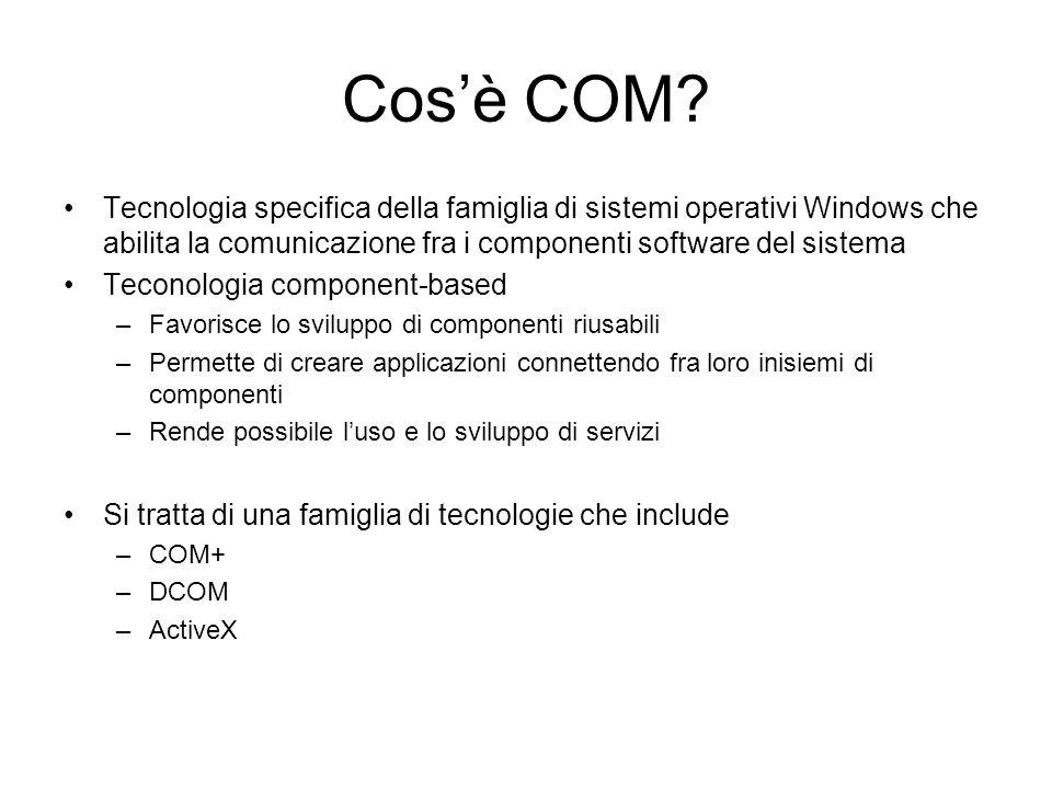 Cos'è COM? Tecnologia specifica della famiglia di sistemi operativi Windows che abilita la comunicazione fra i componenti software del sistema Teconol
