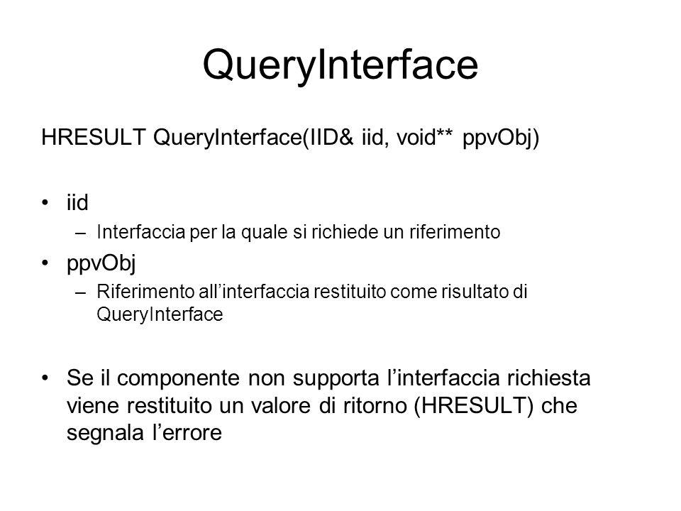 QueryInterface HRESULT QueryInterface(IID& iid, void** ppvObj) iid –Interfaccia per la quale si richiede un riferimento ppvObj –Riferimento all'interf