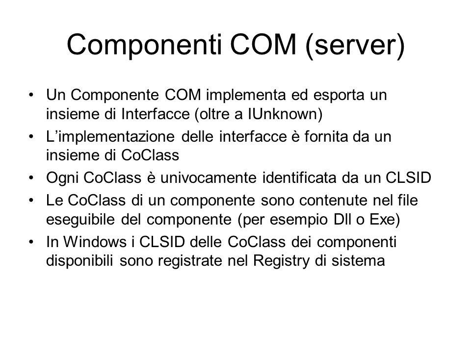 Componenti COM (server) Un Componente COM implementa ed esporta un insieme di Interfacce (oltre a IUnknown) L'implementazione delle interfacce è forni