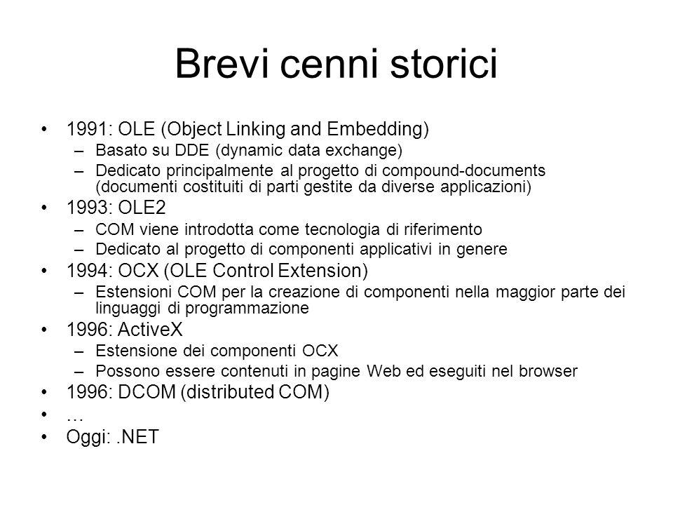 Brevi cenni storici 1991: OLE (Object Linking and Embedding) –Basato su DDE (dynamic data exchange) –Dedicato principalmente al progetto di compound-d