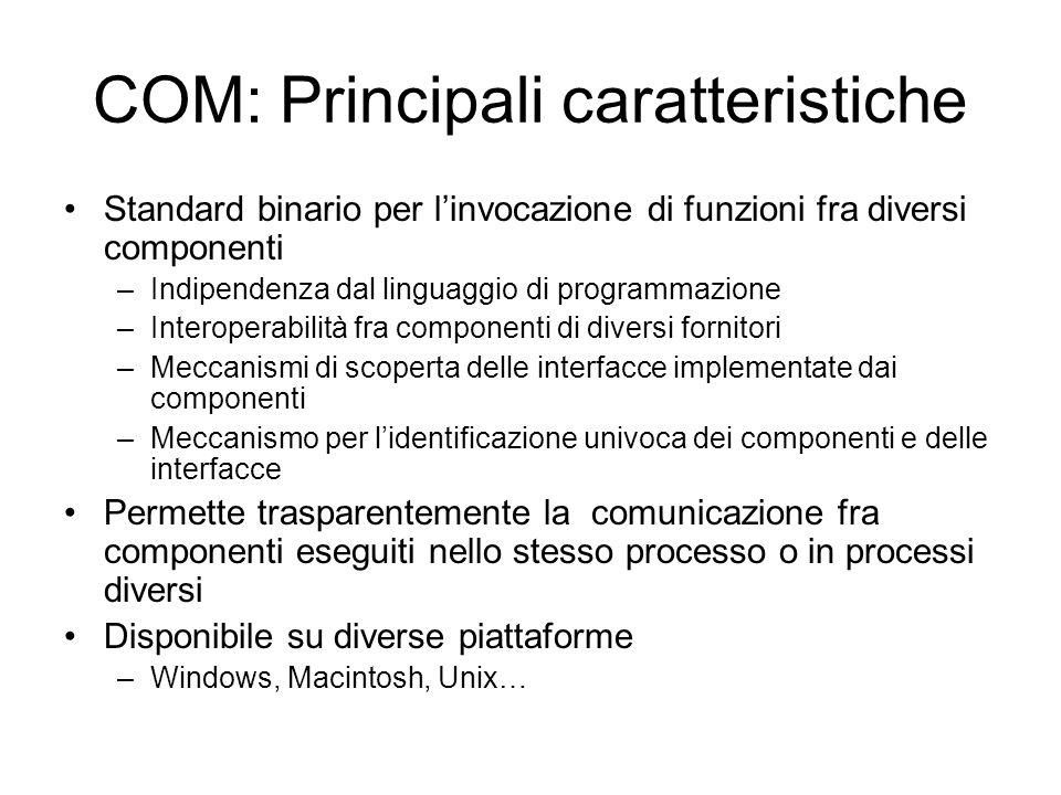 COM: Principali caratteristiche Standard binario per l'invocazione di funzioni fra diversi componenti –Indipendenza dal linguaggio di programmazione –