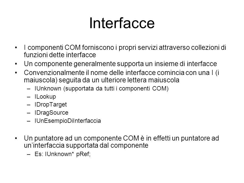 Interfacce I componenti COM forniscono i propri servizi attraverso collezioni di funzioni dette interfacce Un componente generalmente supporta un insi