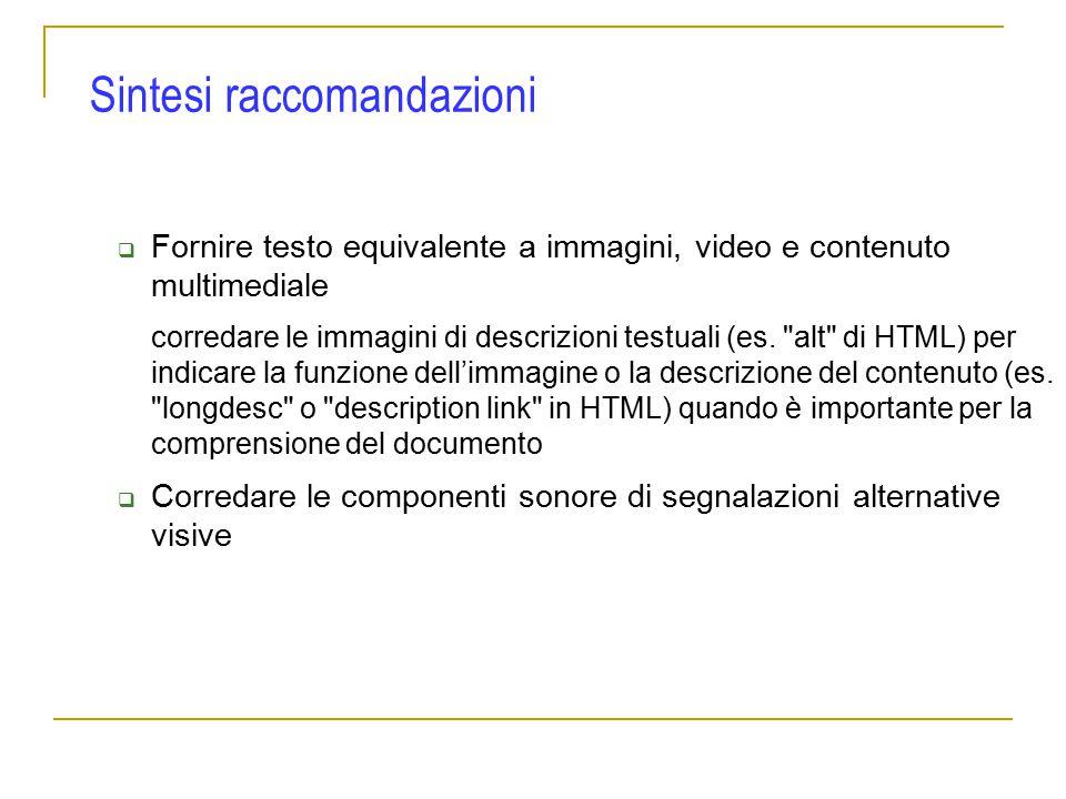  Fornire testo equivalente a immagini, video e contenuto multimediale corredare le immagini di descrizioni testuali (es.